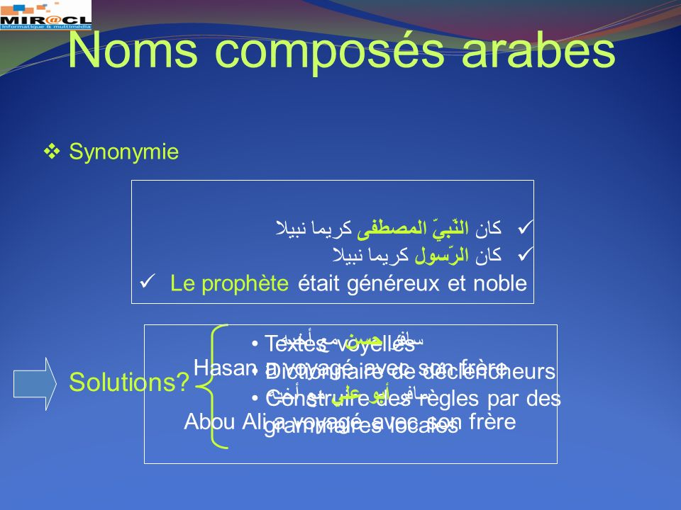 Noms composés arabes Solutions Synonymie
