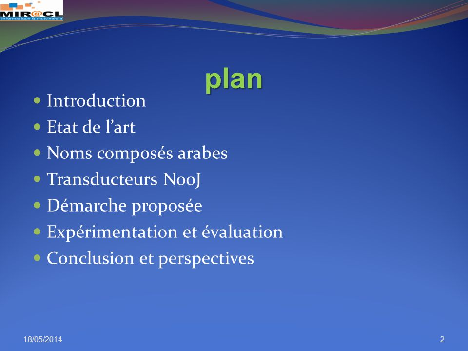 plan Introduction Etat de l'art Noms composés arabes