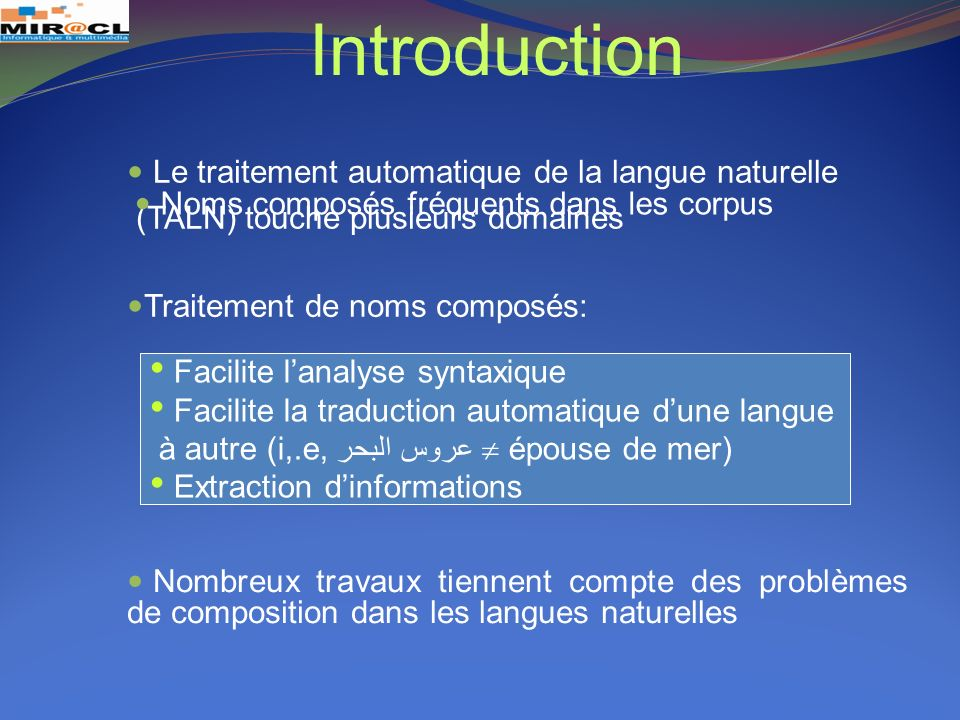 Introduction Le traitement automatique de la langue naturelle