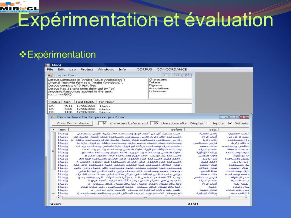 Expérimentation et évaluation