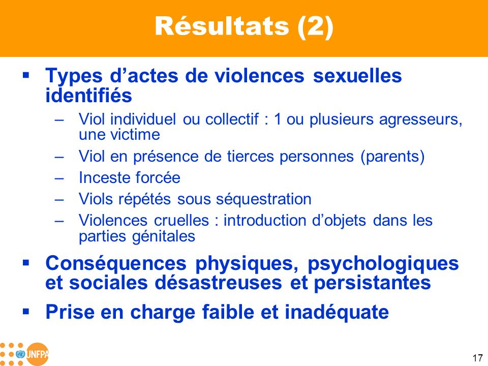 Résultats (2) Types d'actes de violences sexuelles identifiés