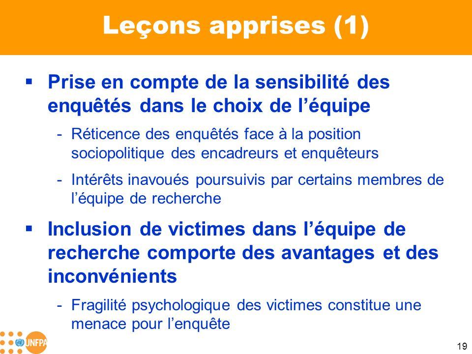 Leçons apprises (1) Prise en compte de la sensibilité des enquêtés dans le choix de l'équipe.