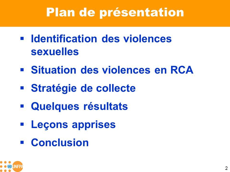 Plan de présentation Identification des violences sexuelles