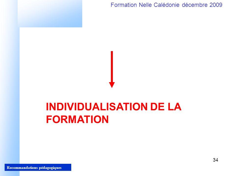 INDIVIDUALISATION DE LA FORMATION