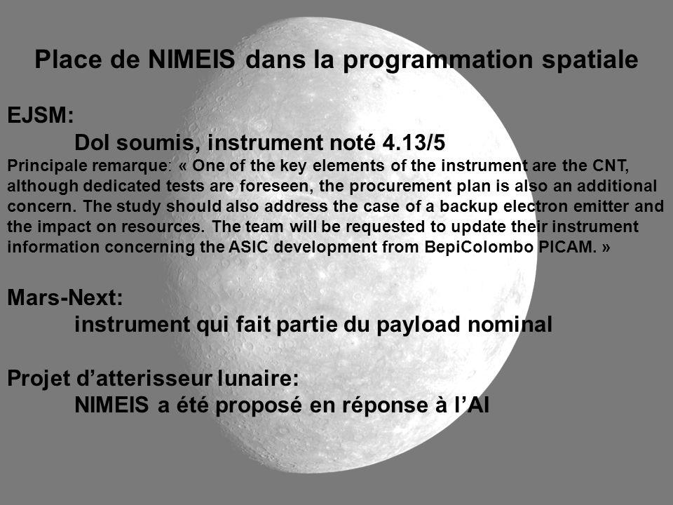 Place de NIMEIS dans la programmation spatiale