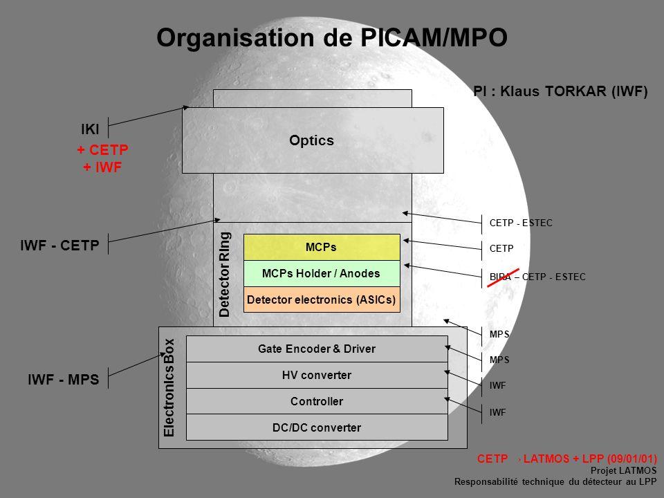 Organisation de PICAM/MPO Detector electronics (ASICs)