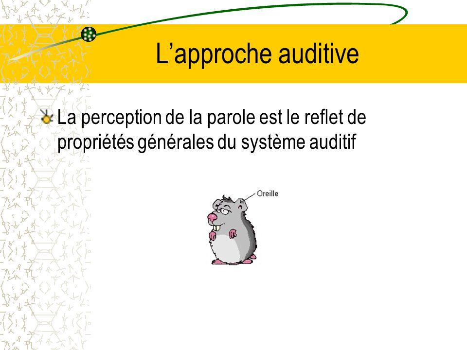 L'approche auditive La perception de la parole est le reflet de propriétés générales du système auditif.