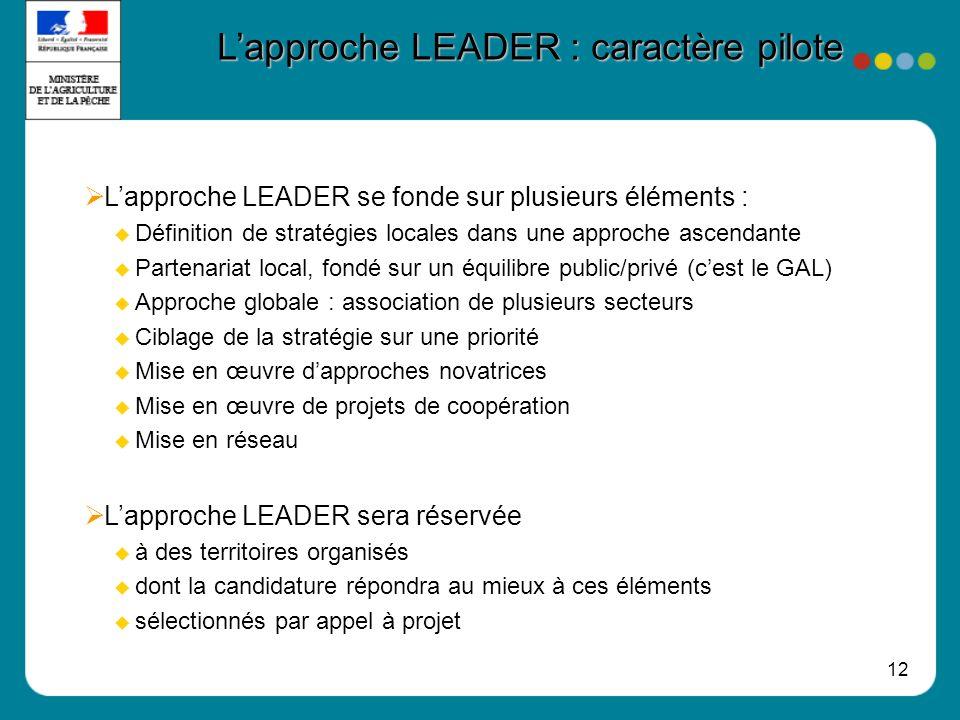 L'approche LEADER : caractère pilote