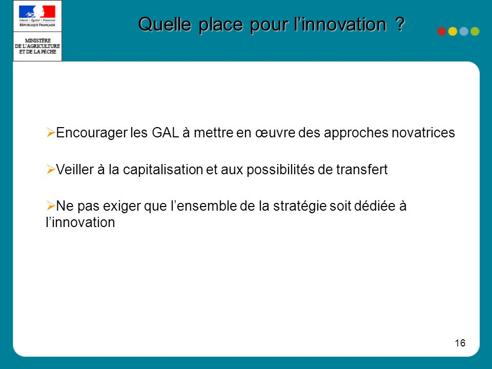 Quelle place pour l'innovation