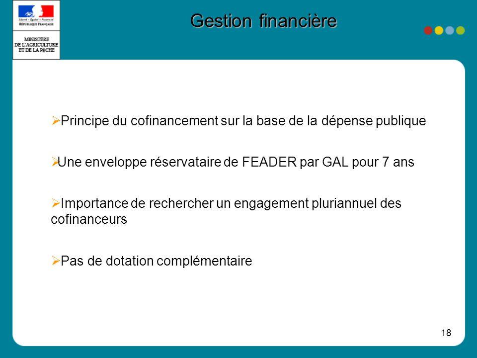 Gestion financière Principe du cofinancement sur la base de la dépense publique. Une enveloppe réservataire de FEADER par GAL pour 7 ans.