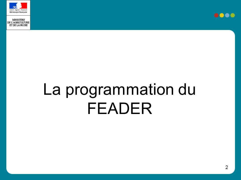 La programmation du FEADER