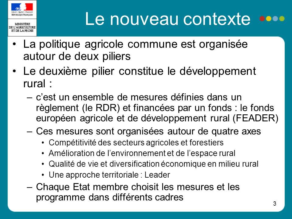 Le nouveau contexte La politique agricole commune est organisée autour de deux piliers. Le deuxième pilier constitue le développement rural :