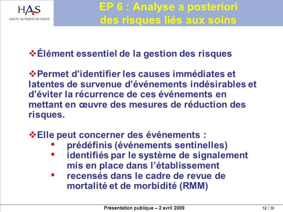 EP 6 : Analyse a posteriori des risques liés aux soins