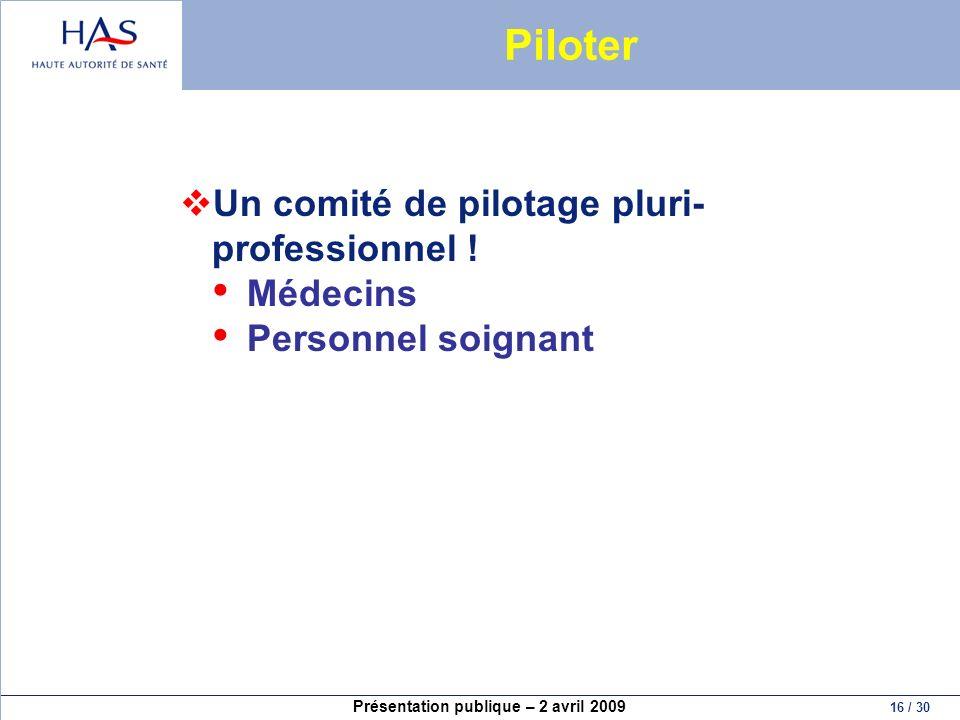Piloter Un comité de pilotage pluri-professionnel ! Médecins