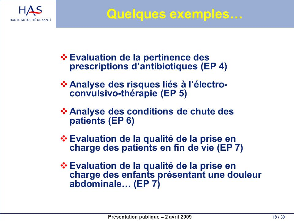 Quelques exemples… Evaluation de la pertinence des prescriptions d'antibiotiques (EP 4)