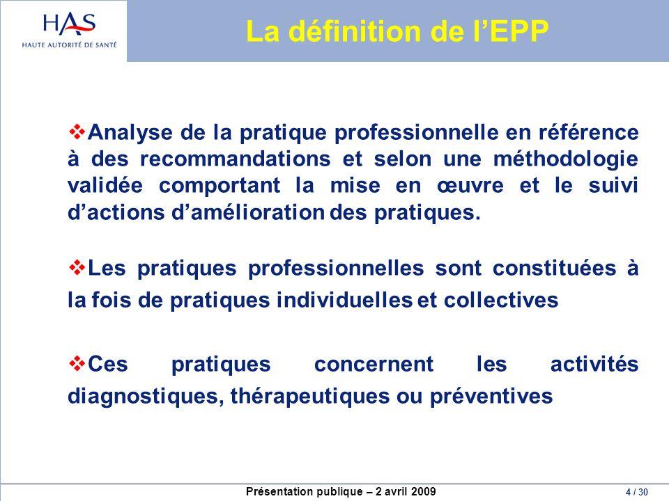 La définition de l'EPP