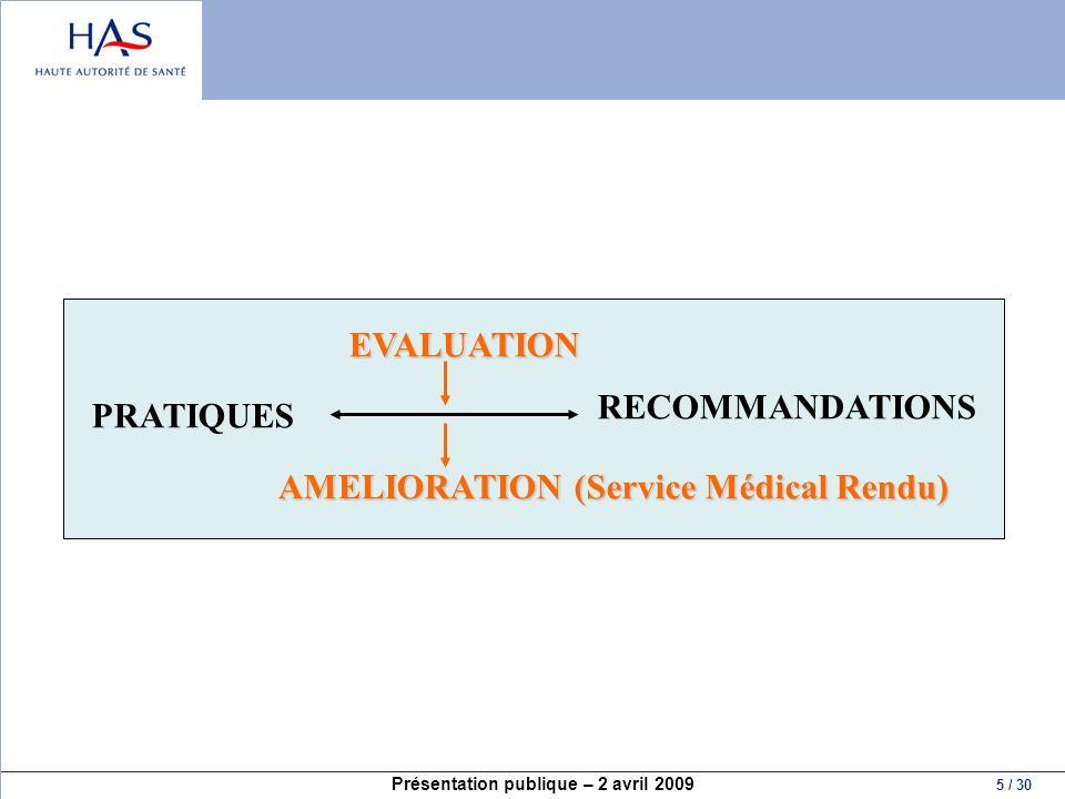 PRATIQUES RECOMMANDATIONS EVALUATION AMELIORATION (Service Médical Rendu)