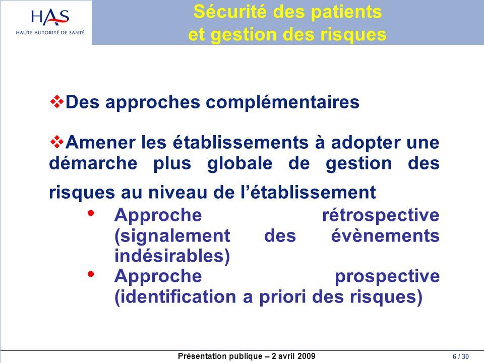 Sécurité des patients et gestion des risques