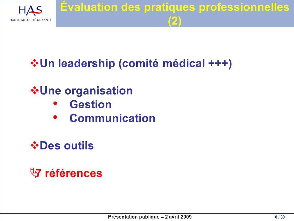 Évaluation des pratiques professionnelles (2)