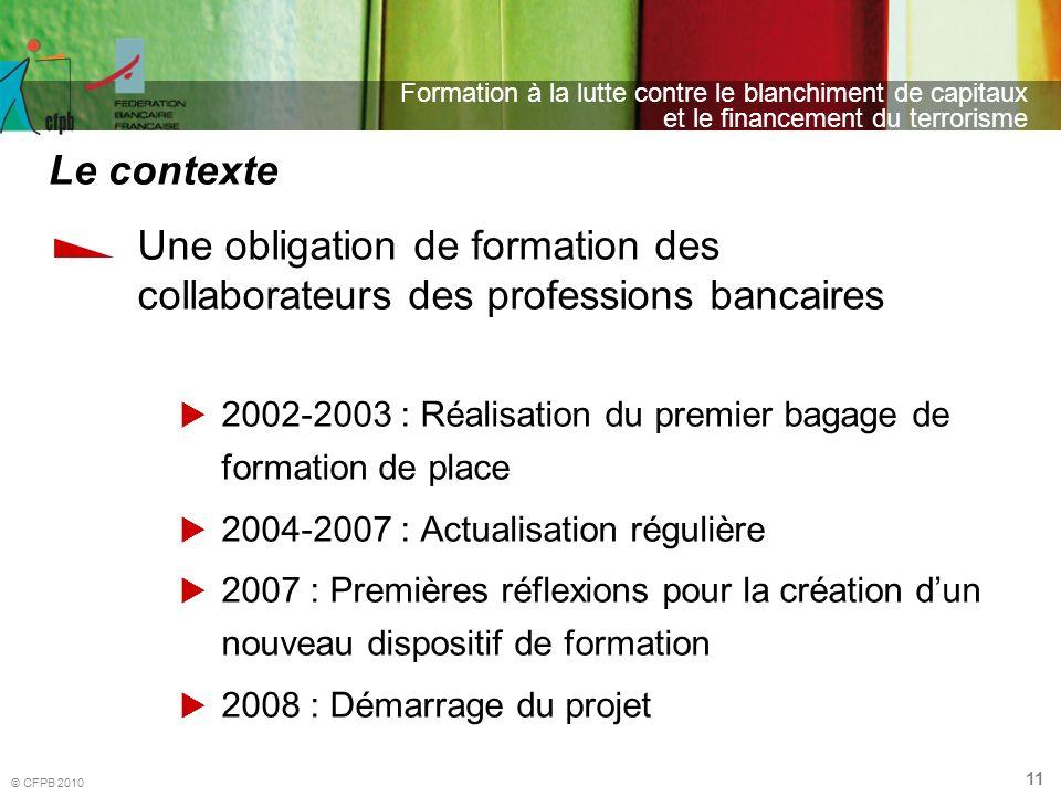 Le contexte Une obligation de formation des collaborateurs des professions bancaires.