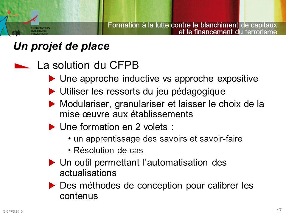Un projet de place La solution du CFPB