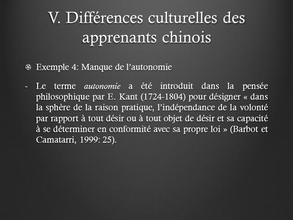 V. Différences culturelles des apprenants chinois