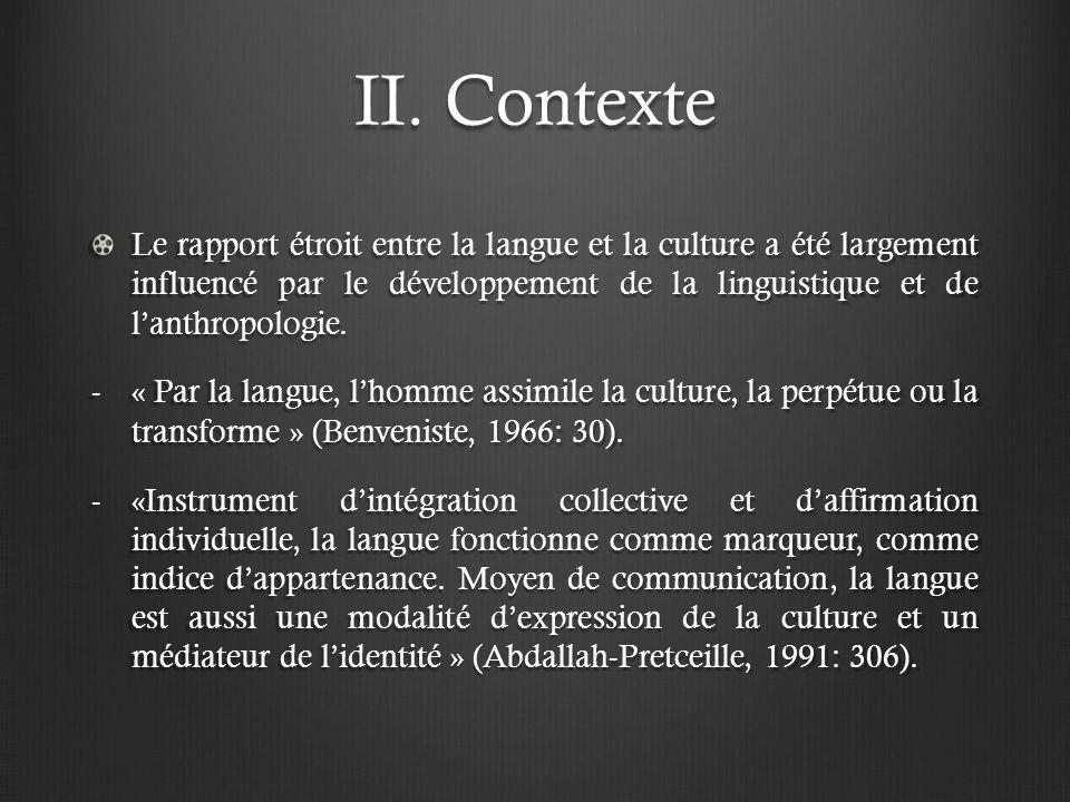 II. Contexte