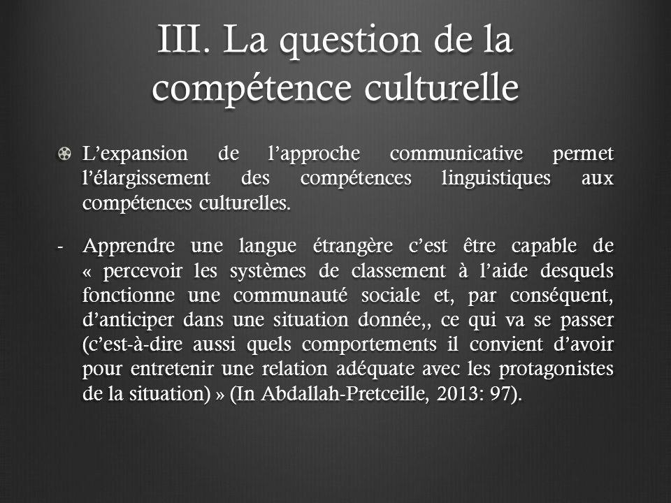 III. La question de la compétence culturelle