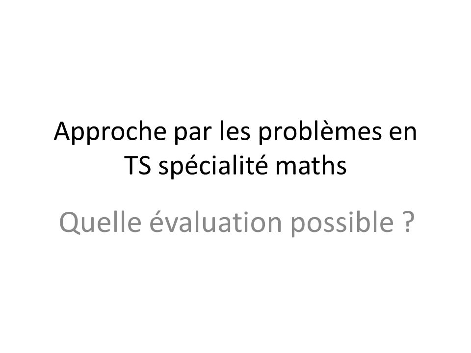Approche par les problèmes en TS spécialité maths