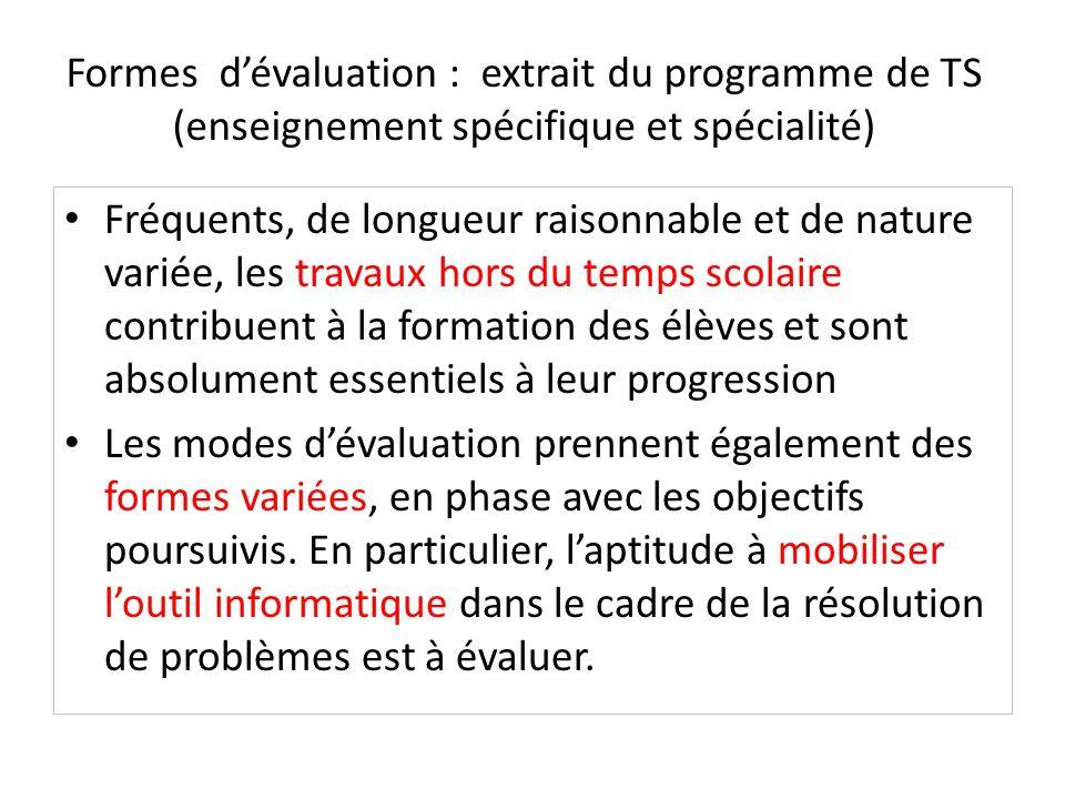 Formes d'évaluation : extrait du programme de TS (enseignement spécifique et spécialité)