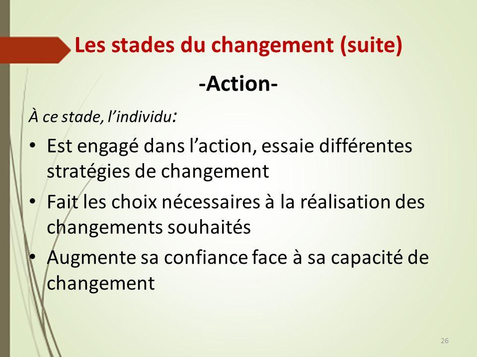 Les stades du changement (suite)