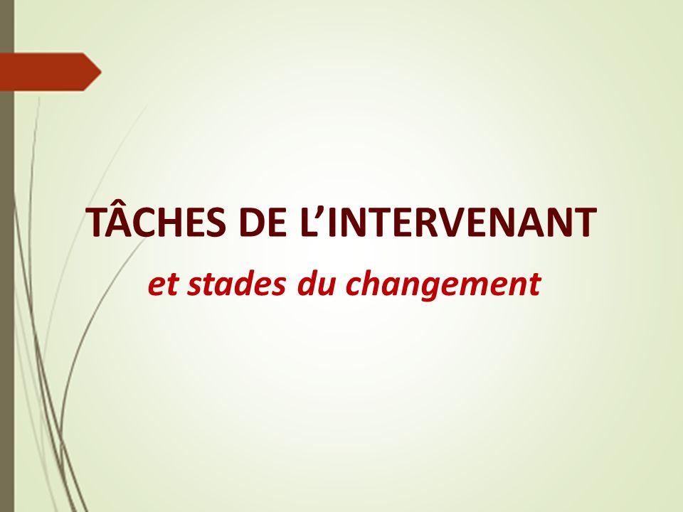 TÂCHES DE L'INTERVENANT