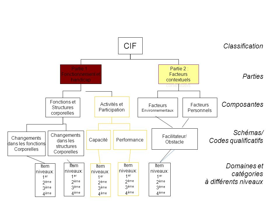 CIF Classification Parties Composantes Schémas/ Codes qualificatifs