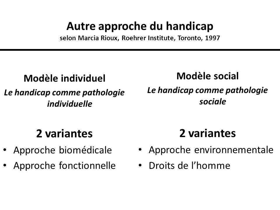 Autre approche du handicap selon Marcia Rioux, Roehrer Institute, Toronto, 1997