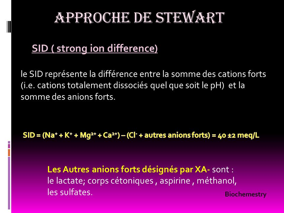 APPROCHE DE STEWART SID ( strong ion difference)