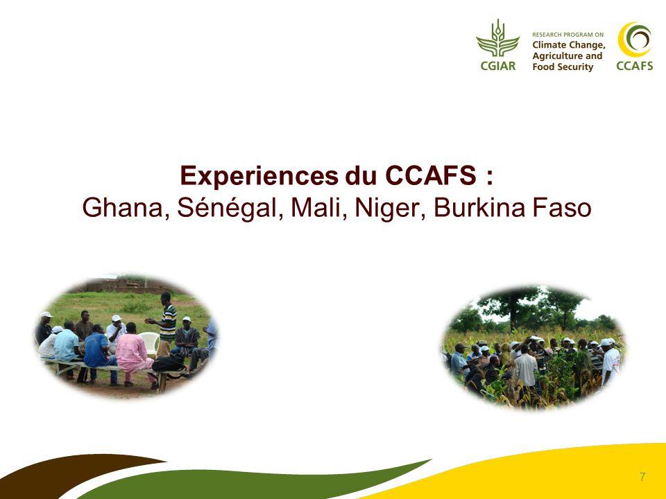 Experiences du CCAFS : Ghana, Sénégal, Mali, Niger, Burkina Faso