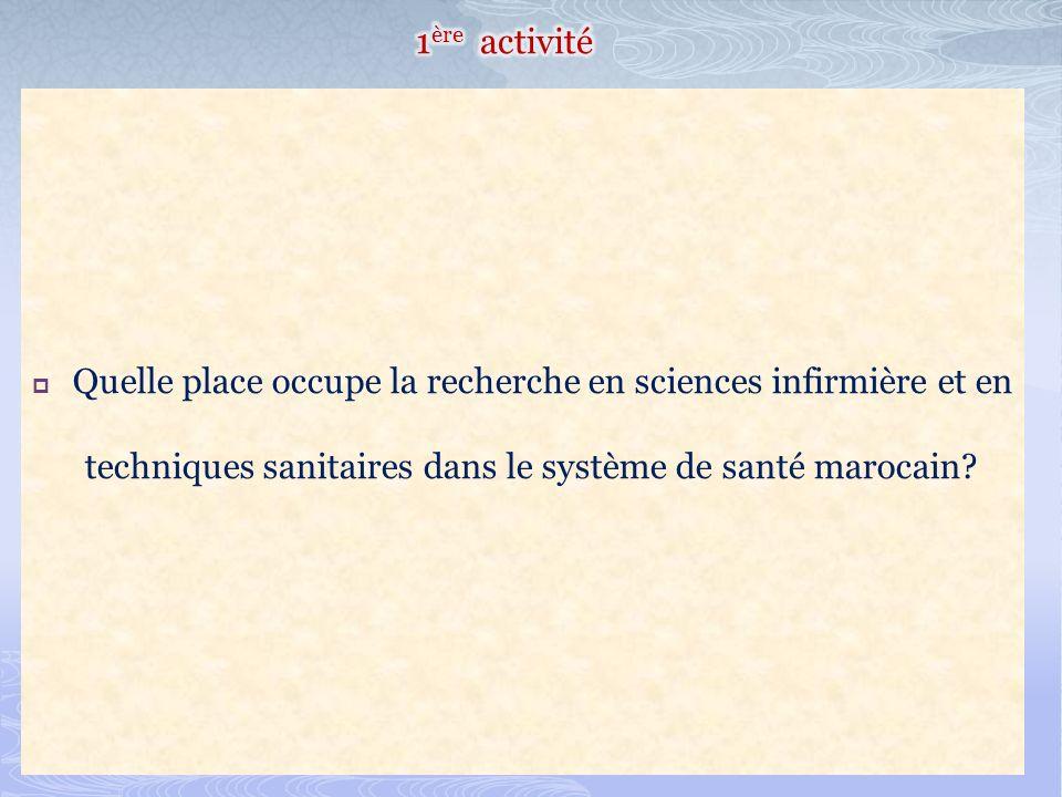 1ère activité Quelle place occupe la recherche en sciences infirmière et en techniques sanitaires dans le système de santé marocain