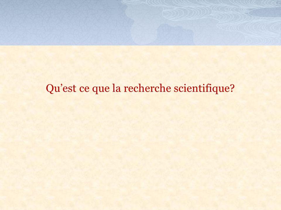 Qu'est ce que la recherche scientifique