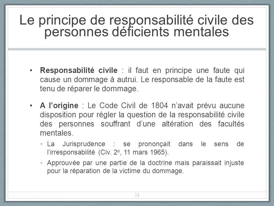 Le principe de responsabilité civile des personnes déficients mentales