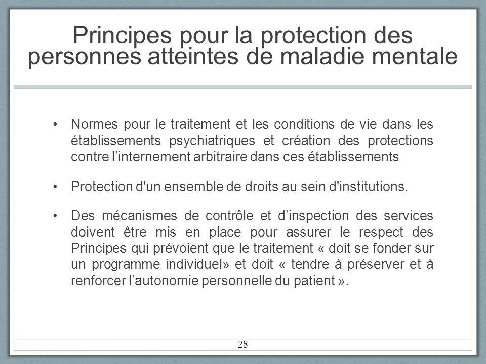 Principes pour la protection des personnes atteintes de maladie mentale
