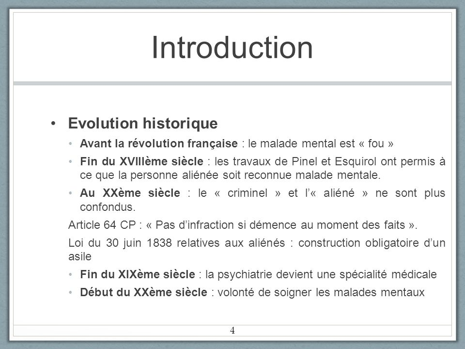 Introduction Evolution historique