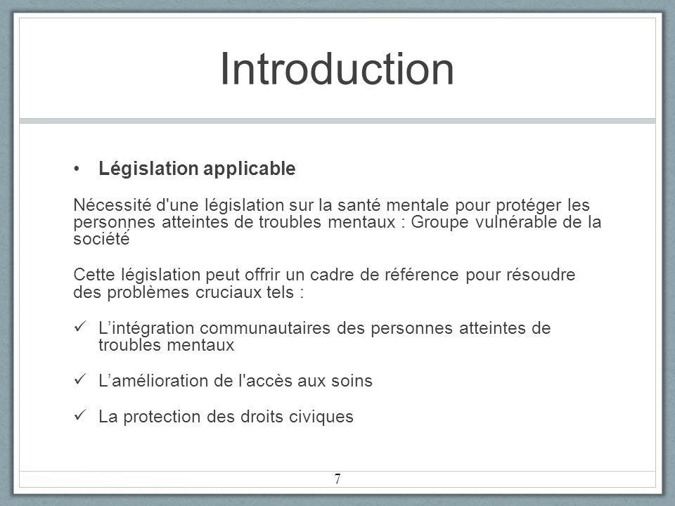 Introduction Législation applicable