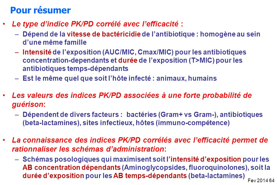Pour résumer Le type d'indice PK/PD corrélé avec l'efficacité :