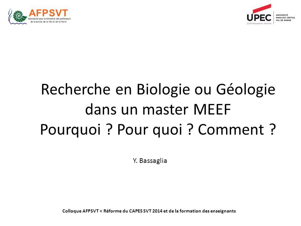 Recherche en Biologie ou Géologie dans un master MEEF Pourquoi