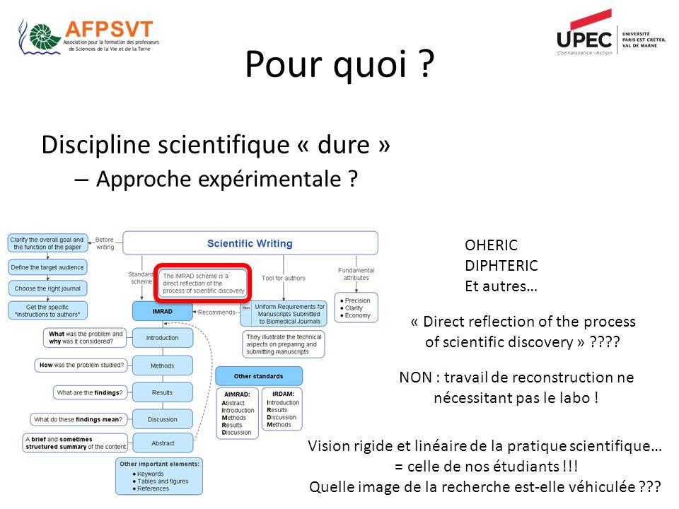 Pour quoi Discipline scientifique « dure » Approche expérimentale