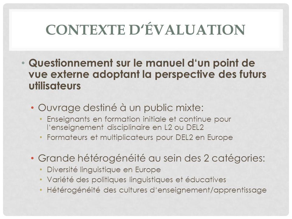 Contexte d'évaluation
