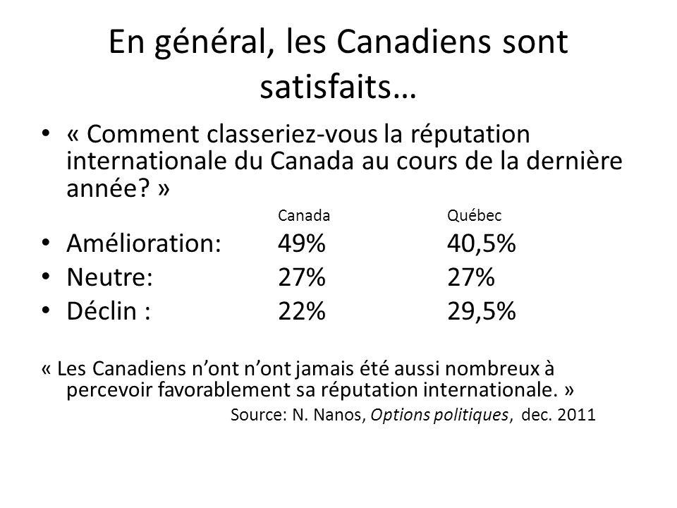 En général, les Canadiens sont satisfaits…
