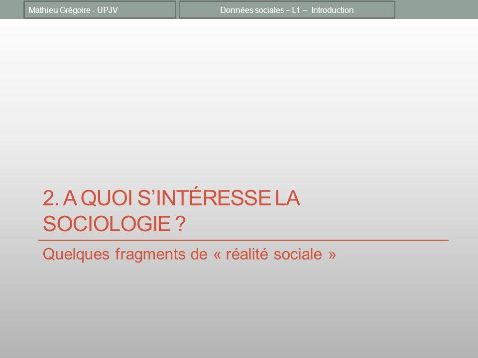 2. A quoi s'intéresse la sociologie