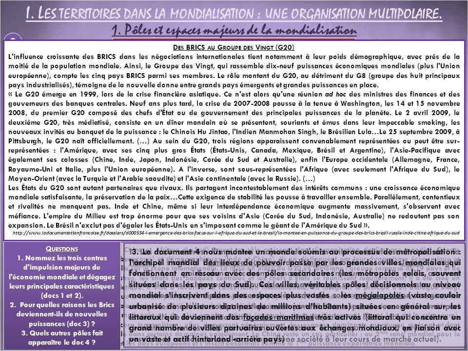 I. Les territoires dans la mondialisation : une organisation multipolaire.