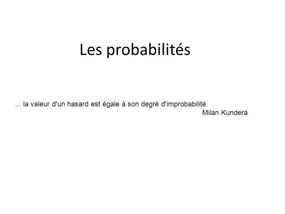 Les probabilités ... la valeur d un hasard est égale à son degré d improbabilité. Milan Kundera